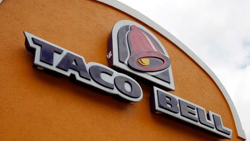FILE - This Friday, May 23, 2014, file photo, shows the sign at a Taco Bell in Mount Lebanon, Pa. Taco Bell announced plans on Jan. 11, 2017, to go nationwide with its Naked Chicken Chalupa, a taco with a shell made out of fried chicken.
