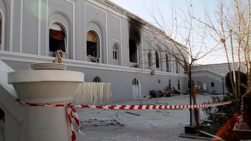 A view of the guesthouse after a bomb blast in Kandahar, Afghanistan, Wednesday, Jan. 11, 2017. The United Arab Emirates said on Wednesday that five of its diplomats were killed in the bombing in southern Afghanistan the day before, the deadliest attack to ever target the young nation's diplomatic corps.