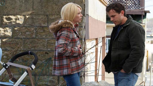 "This image released by Roadside Attractions and Amazon Studios shows Michelle Williams, left, and Casey Affleck in a scene from ""Manchester By The Sea."""