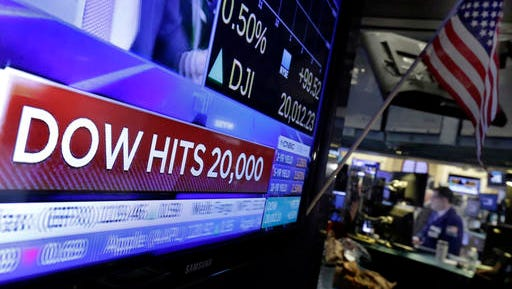 A television screen on the floor of the New York Stock Exchange headlines the Dow Jones industrial average, Wednesday, Jan. 25, 2017. The DJIA is trading over 20,000 points for the first time, the latest milestone in a record-setting drive for the stock market. The market has been marching steadily higher since bottoming out in March 2009 in the aftermath of the financial crisis.