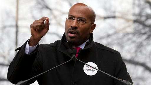 """FILE - In this Jan. 21, 2017 file photo, activist Van Jones speaks to the crowd during the women's march rally in Washington.  Jones, the political activist and CNN commentator  has a book deal. Jones' """"Facing the Messy Truth"""" will be published this fall, Ballantine Books announced Thursday, Feb. 2,."""