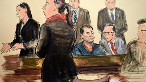 "In this courtroom art, Joaquin ""El Chapo"" Guzman, seated center, listens as his federal defender Michelle Gelernt, left, and Assistant U.S. Attorney Andrea Goldbarg, second left, talk at his Brooklyn federal court appearance, Friday, Feb. 3, 2017 in New York. Guzman is charged with running a massive drug trafficking operation that laundered billions of dollars and oversaw murders and kidnappings. (AP Photo/Elizabeth Williams)"