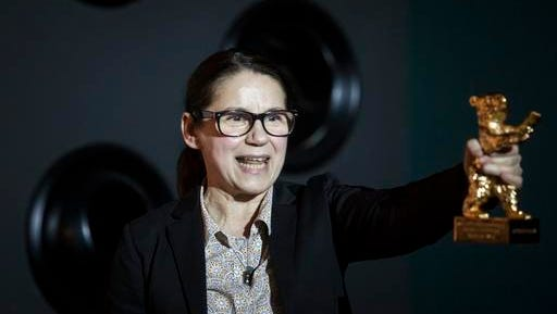 """Director Ildiko Enyedi, winner of the Golden Bear award at the Berlin Film Festival for """"On Body and Soul,"""" speaks about her film at a press conference at the Toldi Cinema in Budapest on Feb 21, 2017. Enyedi said her next project will be an adaptation of """"The Story of My Wife,"""" a 1942 novel by Hungarian writer and poet Milan Fust."""