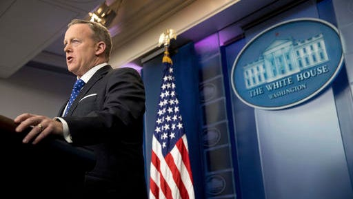 White House press secretary Sean Spicer speaks during the daily press briefing at the White House in Washington, Tuesday, Feb. 21, 2017.