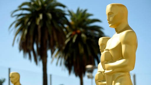 Oscar statues for the 89th Academy Awards red carpet stand on Wednesday, Feb. 22, 2017, in Los Angeles. The 89th Academy Awards will be held on Sunday.