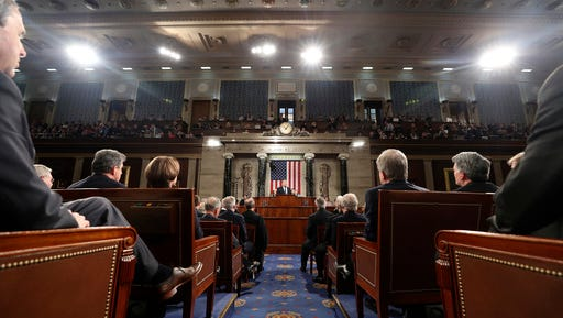 President Donald Trump speaks to a joint session of Congress on Capitol Hill in Washington, Tuesday, Feb. 28, 2017. (Jim Lo Scalzo/Pool Image via AP)