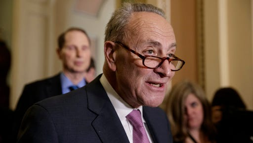 Senate Minority Leader Chuck Schumer of N.Y., criticizes the Republican health care plan designed to replace Obamacare during a news conference on Capitol Hill in Washington.