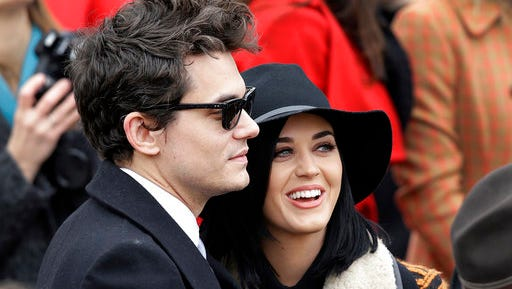 "FILE - In this Jan. 21, 2013, file photo, John Mayer and Katy Perry arrive at the ceremonial swearing-in for President Barack Obama at the U.S. Capitol during the 57th Presidential Inauguration in Washington. Perry told The New York Times for an article published online March 23, 2017, that his new single, ""Still Feel Like Your Man,"" is about Perry."