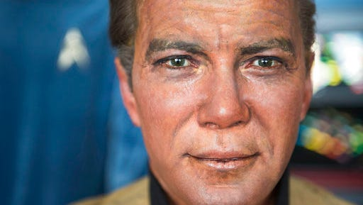 This Saturday, March 25, 2017 photo shows a close up of Captain Kirk's wax likeness from the now out of business Movieland Wax Museum in Buena Park in a hangar at Fullerton Airport in Fullerton, Calif. Steven Greenthal and Chris Liebl are donating the figures to the Hollywood Science Fiction Museum. The figures are being restored for a five-year tour to raise money to get the museum a permanent home.