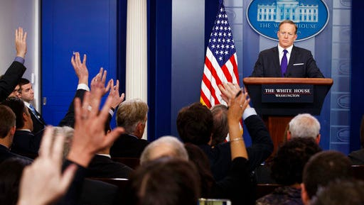 White House press secretary Sean Spicer listens to a question during the daily press briefing, Thursday, March 30, 2017, at the White House in Washington.