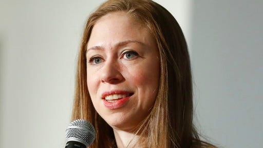 FILE - In this Oct. 26, 2016 file photo, Chelsea Clinton speaks in Cincinnati. Chelsea Clinton says she doesn't have her sights on running for a public office, and has no intention of running against President Donald Trump in the next election.