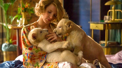 """Jessica Chastain stars in  """"The Zookeeper's Wife."""" The movie opens Friday at Regal West Manchester Stadium 13."""