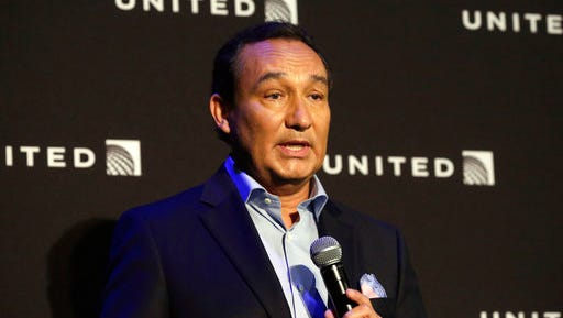FILE - In this Thursday, June 2, 2016 file photo, United Airlines CEO Oscar Munoz delivers remarks in New York.  United Airlines said Friday, April 21, 2017, that its CEO Munoz won't add the title of chairman in 2018 as planned, as fallout continues from the violent removal of a passenger from a plane this month.