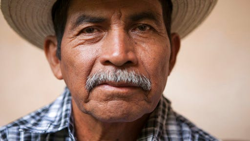 In this April 18, 2017 photo, Maya Q'eqchi leader and winner of the Goldman Environmental Prize, Rodrigo Tot poses for a photo during an interview in Guatemala City. Tot is a diminutive, soft-spoken evangelical pastor and is being recognized for defending his indigenous Q'eqchi community's lands against a mining company and the government.