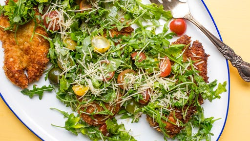 This April 2017 photo shows spicy chicken Milanese in New York. This dish is from a recipe by Katie Workman.