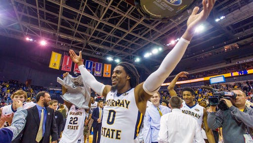 Murray State's Terrell Miller (0) gestures as he celebrates after his team's victory over Belmont in an NCAA college basketball game in the championship of the Ohio Valley Conference tournament, Saturday, March 3, 2018, in Evansville, Ind. (AP Photo/Daniel R. Patmore)