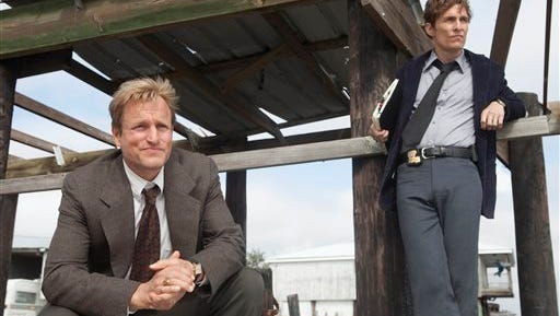 """This photo released by HBO shows Woody Harrelson, left, as Martin Hart, and Matthew McConaughey as Rustin Cohle, in a scene from HBO's TV series, """"True Detective."""" HBO said Wednesday it will over streaming-only services."""