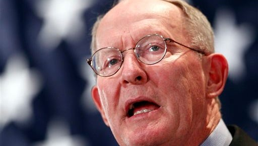 Sen. Lamar Alexander, R-Tenn. speaks to supporters, Tuesday, Nov. 4, 2014, in Knoxville, Tenn. (AP Photo/Wade Payne)