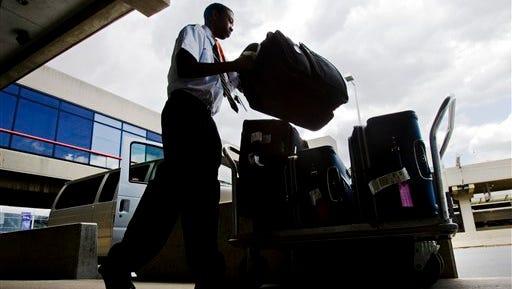 A baggage handler at Philadelphia International Airport.