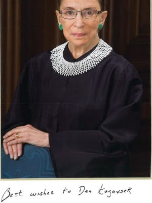 This personally autographed photo of Ruth Bader Ginsburg hangs in Pueblo City Attorney Dan Kogovsek's office.