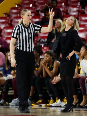 ASU's head coach Charli Turner Thorne reacts to a foul call against her team during the first half playing Colorado at Wells Fargo Arena on January 21, 2018 in Tempe, Ariz.