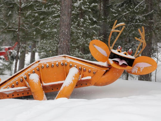 Tom Lakenen runs a sculpture park and a warming lean-to