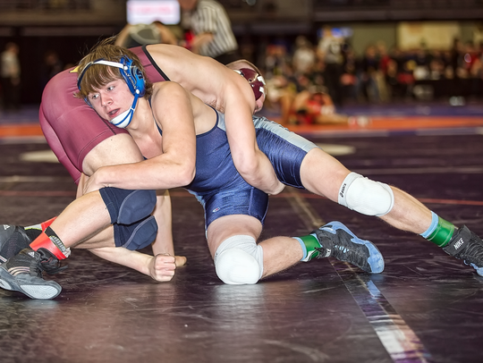 Livonia Stevenson's Connor Vaughan is pictured competing