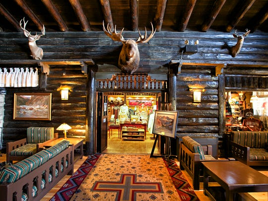 The lobby at El Tovar hotel at Grand Canyon looks like an old lodge.