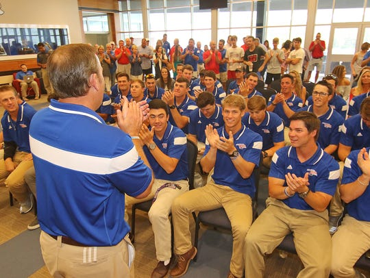 Louisiana Tech baseball coach Greg Goff talks with