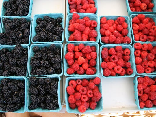 Blackberries and raspberries at the White Plains farmers