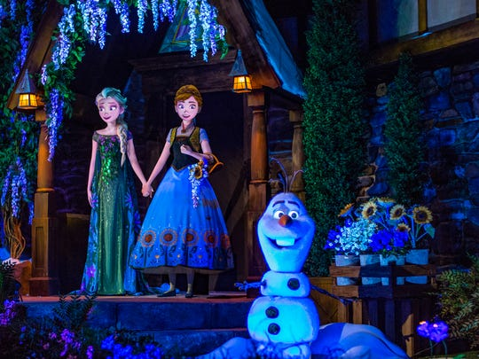 """Frozen Ever After takes guests through the kingdom of Arendelle from the Disney animated hit, """"Frozen."""" Located in the Norway Pavilion at Epcot, Frozen Ever After celebrates a """"Summer Snow Day"""" on a journey through a frozen willow forest, past Troll Valley and up to Queen Elsa's palace high up on the north mountain. Epcot is one of four theme parks at Walt Disney World Resort in Lake Buena Vista, Fla. (Matt Stroshane, photographer)"""