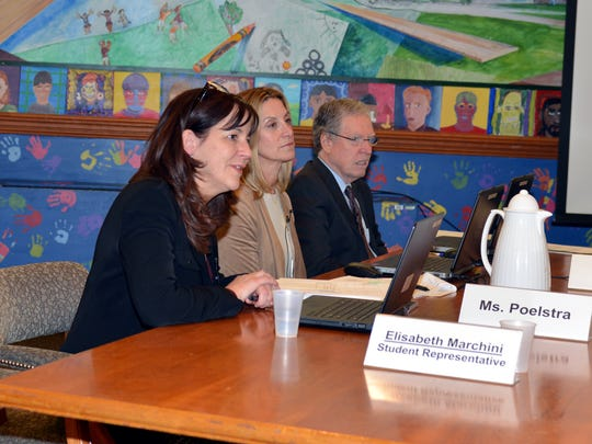 Ridgewood, NJ 12/5/16  Stacie Poelstra (left) Asst. Superintendent for Curriculum explaining how the Ridgewood Schools will use the  $62,500  grant to Ridgewood Schools from the Ridgewood Education Foundation.  also pictured BOE members Christina Krauss and Vincent Loncto.