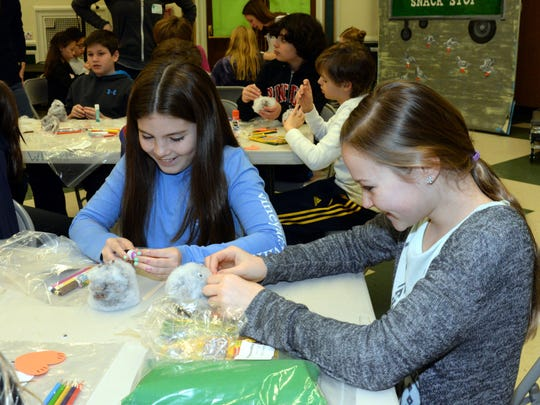 Ridgewood 02/13/17   Day of service at Willard Elementary School in Ridgewood.  Kelly (left) and Katie making Owls for residents of Ridge Crest.