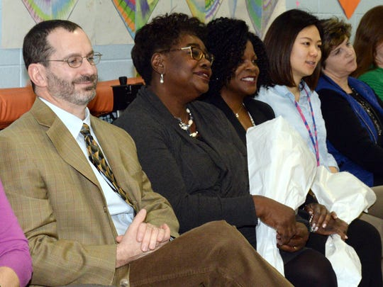 """Ridgewood 02/16/17 Black History Month celebration at Orchard School. theme this year is """"Hidden Figures""""  Attending left to right Dr. Dan Fishbein, Ojetta Townes, Michelle Jones."""