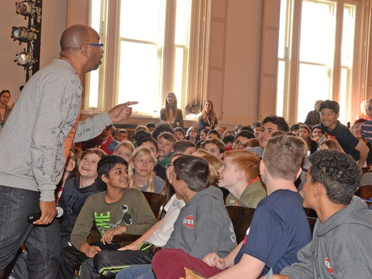 20027351A Ridgewood 03/08/17  2015 Newbery Medal winner Kwame Alexander visits George Washington Middle School.  Enthusiastic students react to Mr. Alexander's speech.