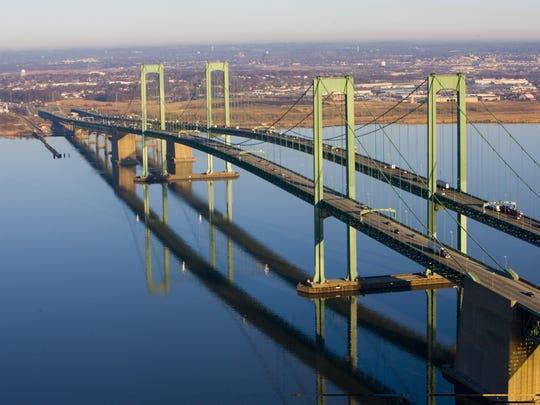 Aerial shot of the Delaware Memorial Bridge.