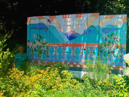 The Lake Lure Flowering Bridge, which includes a mural