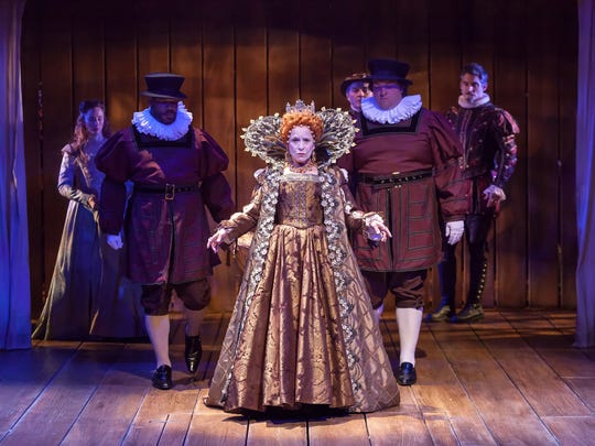 """Naomi Jacobson plays an intimidating Queen Elizabeth I in the Playhouse in the Park's production of """"Shakespeare in Love."""" The show runs through Sept. 30 in the Playhouse's Marx Theatre."""