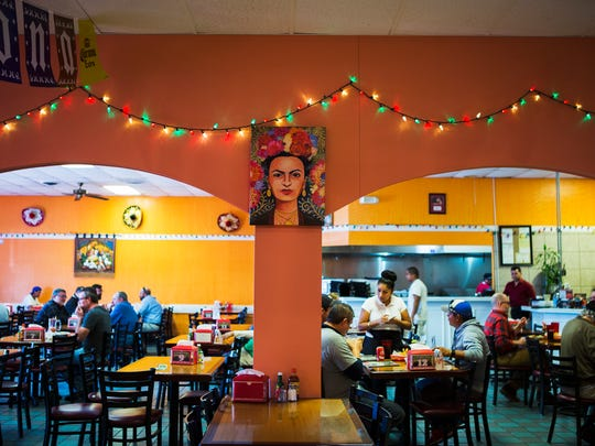 January 31, 2017 - A painting of late artist Frida Kahlo hangs on a wall at La Guadalupana. The Mexican restaurant recently doubled its space at 4818 Summer Ave. (Yalonda M. James | USA TODAY NETWORK - Tennessee)