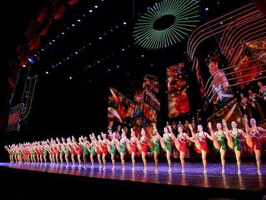 The Rockettes perform their signature kickline at g