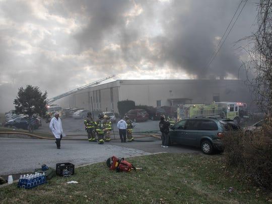 The scene of a fire at Verla International cosmetics
