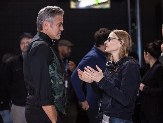 Jodie Foster, right, and George Clooney on the set