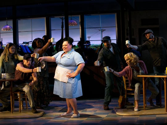"Keala Settle and the Ensemble in ""Waitress,"" a new musical, at American Repertory Theater."