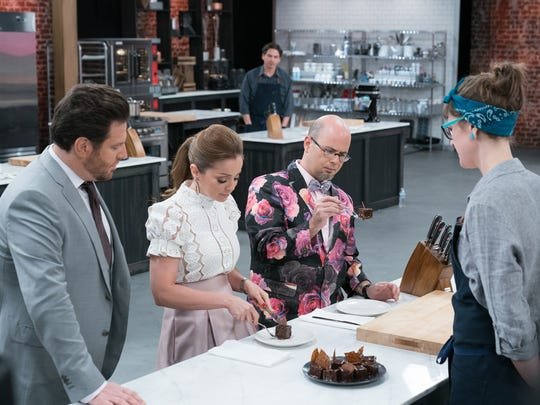 Host Scott Conant (L) with Judges Marcela Valladolid