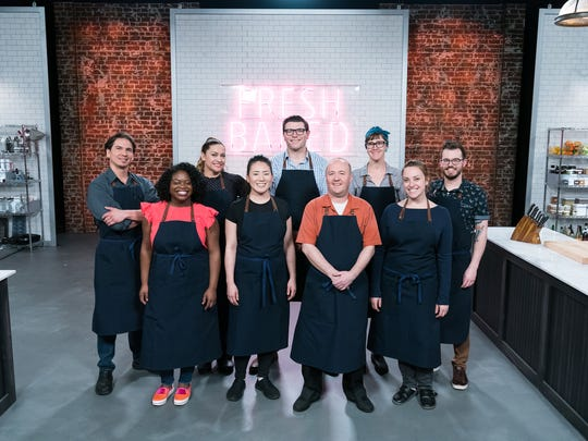 Contestants Max Santiago (L), Lasheeda Perry, Frania Mendivil, Kymberli Delost, Adam Young, Jean-Francois Suteau, Becca Craig, Leigh Omilinsky, and Jeremy Fogg, as seen on Best Baker in America, Season 2.