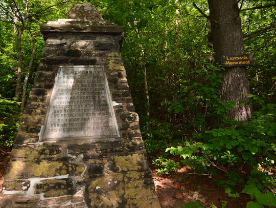 The Layman Monument provides a glimpse through the