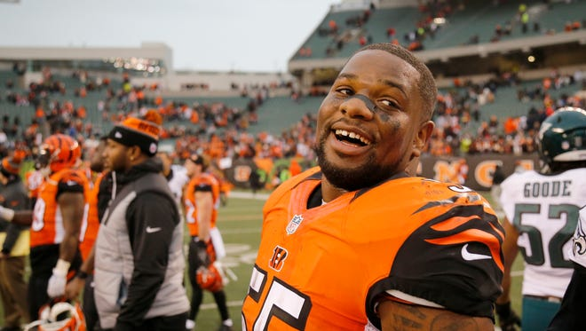 Cincinnati Bengals outside linebacker Vontaze Burfict (55) smiles at midfield after the fourth quarter of the NFL Week 13 game between the Cincinnati Bengals and the Philadelphia Eagles at Paul Brown Stadium in downtown Cincinnati on Sunday, Dec. 4, 2016. The Bengals defeated the Eagles 32-14 - the team's first win since Oct. 23 against the Browns.