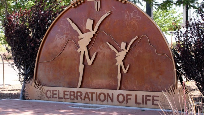 """The Celebration of Life Memorial at Voiers Park on North Country Club Road is lined with memorial bricks that carry the names of loved ones who battled cancer and """"Cancer Warriors."""""""