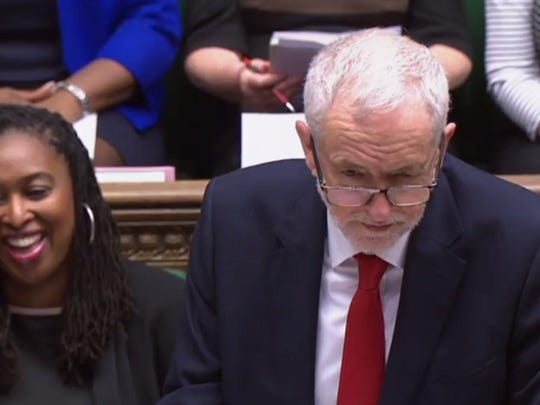 A video grab from footage broadcast by the UK Parliament's Parliamentary Recording Unit (PRU) shows Britain's opposition Labour party leader Jeremy Corbyn takes part in the weekly Prime Minister's Questions (PMQs) in the House of Commons in London on January 30, 2019.