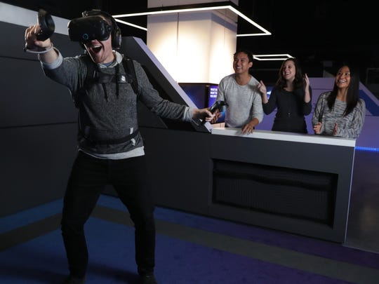 An IMAX VR player in Los Angeles has a go at Star Wars.
